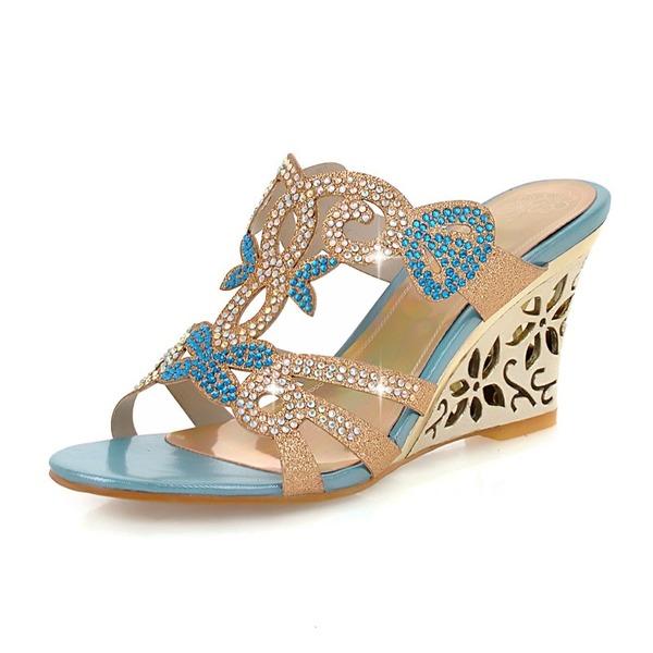Женщины кожа Вид каблука Сандалии Танкетка Открытый мыс с горный хрусталь обувь