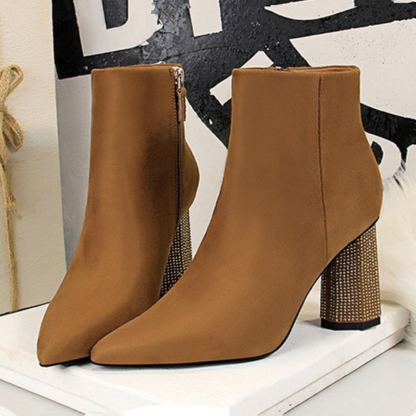Women's Suede Chunky Heel Pumps Closed Toe Boots Martin Boots With Crystal Heel shoes