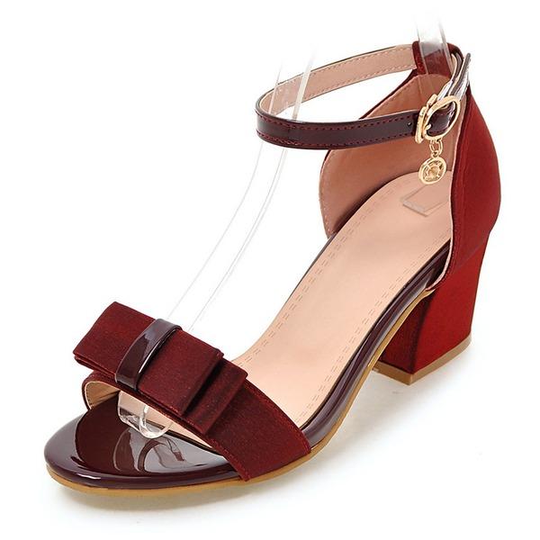 Vrouwen Stof Chunky Heel Sandalen Pumps Peep Toe met Strass strik schoenen