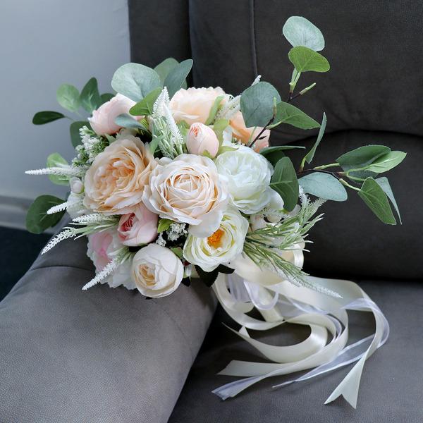 Pretty Redondo Flores de seda Ramos de novia - Ramos de novia