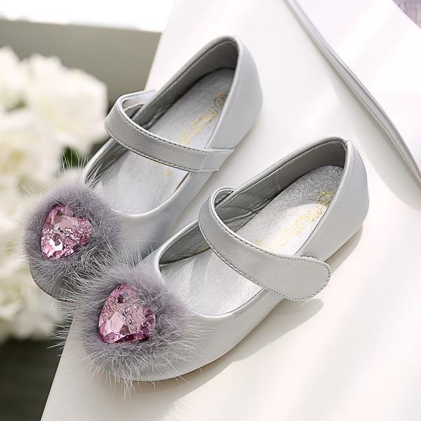 Mädchens Round Toe Geschlossene Zehe Microfaser-Leder Flache Ferse Flache Schuhe Blumenmädchen Schuhe mit Klettverschluss Kristall Bommel