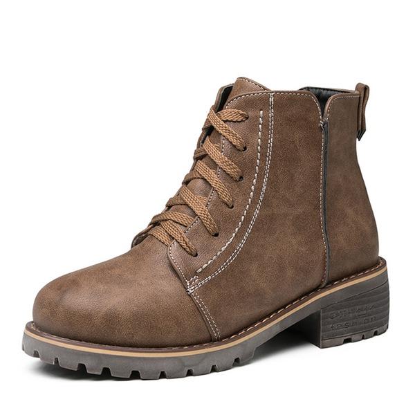 Femmes Similicuir Talon bottier Bottes Bottes mi-mollets Martin bottes avec Zip Dentelle chaussures