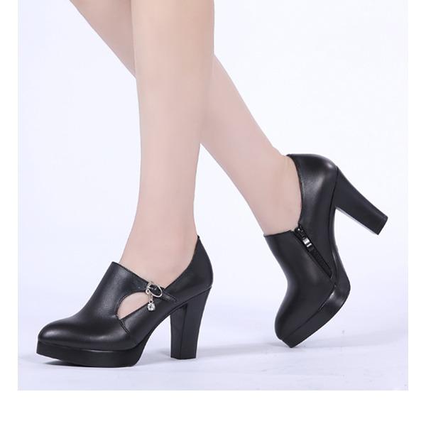 Donna Vera pelle Tacco spesso Stiletto con Cava-out scarpe