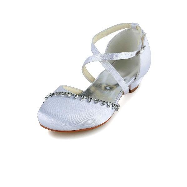 Fille de Bout fermé Satin Low Heel Escarpins Chaussures de fille de fleur avec Boucle Strass