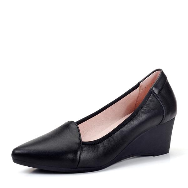 Femmes Vrai cuir Talon compensé Bout fermé Compensée chaussures