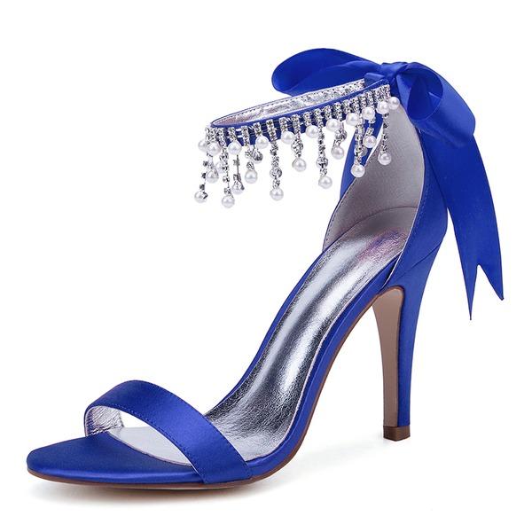 Frauen Seide wie Satin Stöckel Absatz Peep-Toe Absatzschuhe Sandalen mit Bowknot Nachahmungen von Perlen Strass Satin Schnürsenkel Zuschnüren Quaste Perle
