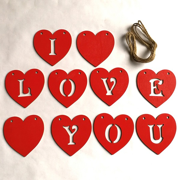 Nice/Heart Design Lovely/Pretty Wooden Wedding Ornaments (Sold in a single piece)
