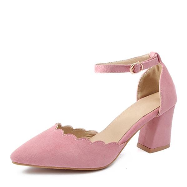 De mujer Cuero Tacón ancho Sandalias Salón Cerrados con Hebilla zapatos
