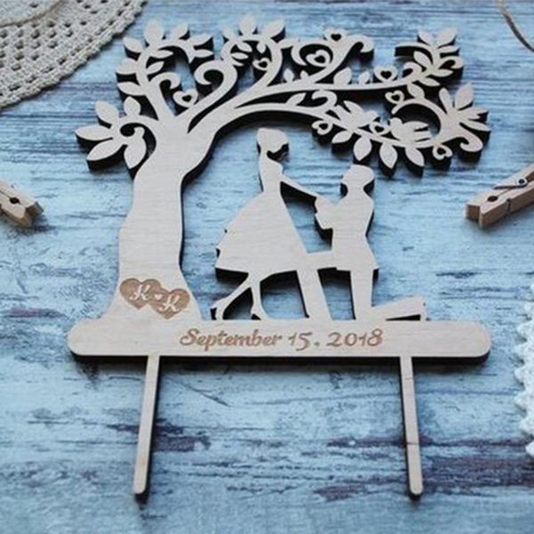 Individualisiert Klassik Paar Holz Torten-Dekoration