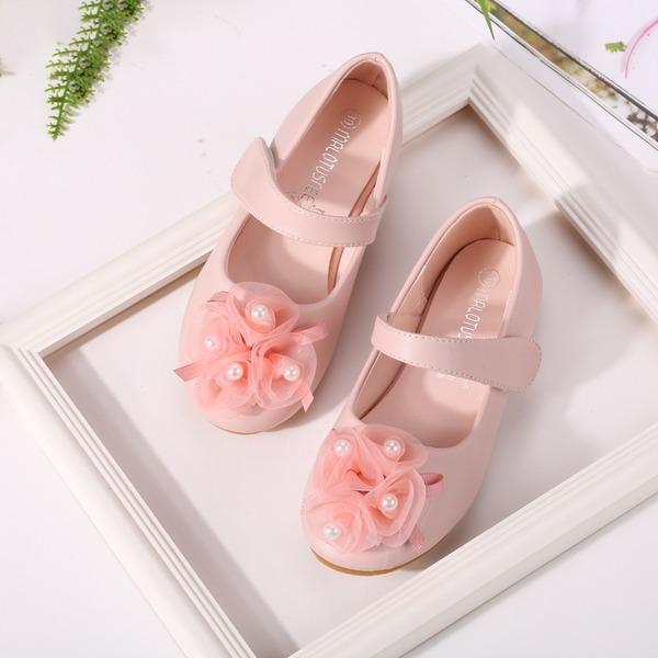 Muchacha Encaje Mary Jane Cuero de Microfibra Talón plano Planos Zapatos de niña de las flores con Perlas de imitación Arco del satén