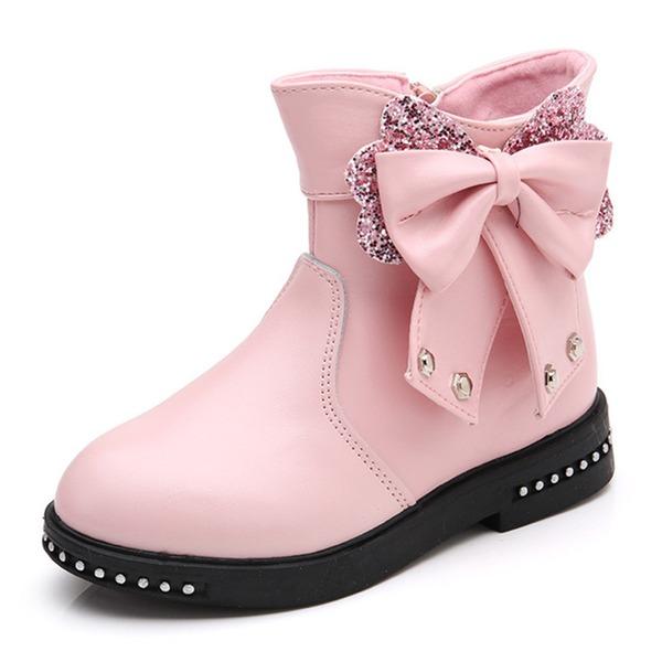 Fille de bout rond Bout fermé Bottines similicuir talon plat Chaussures plates Bottes Chaussures de fille de fleur avec Bowknot Zip