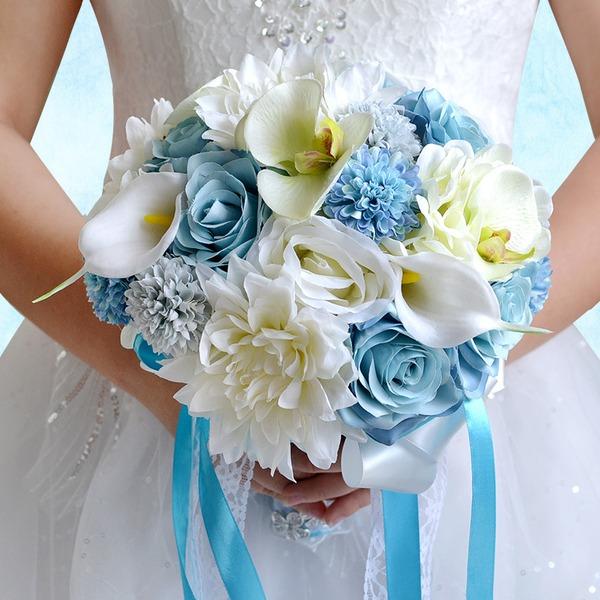 Элегантные Круглый Атлас/ЧП/горный хрусталь/Шелковые белье Свадебные букеты/Невесты Букеты