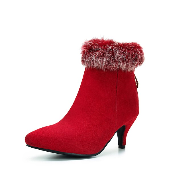 Women's Suede Spool Heel Pumps Ankle Boots With Zipper Fur shoes