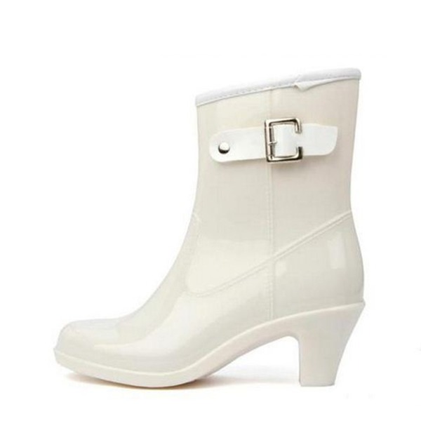 79f96ae85cba Women s PVC Chunky Heel Closed Toe Boots Ankle Boots Rain Boots With Buckle  shoes