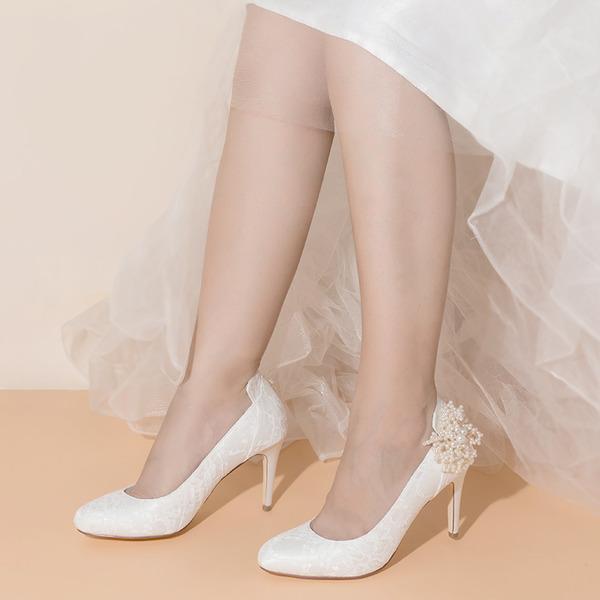 Women's Lace Satin Stiletto Heel Closed Toe With Imitation Pearl Applique