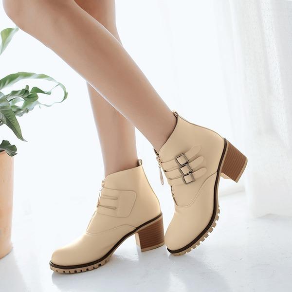 Frauen Kunstleder Stämmiger Absatz Flache Schuhe Geschlossene Zehe Stiefel mit Schnalle Reißverschluss Schuhe