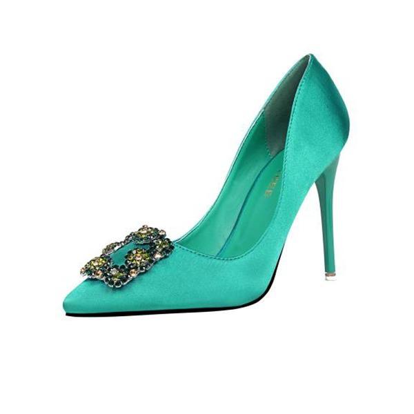 Vrouwen Satijn Stiletto Heel Closed Toe Pumps Sandalen met Gesp