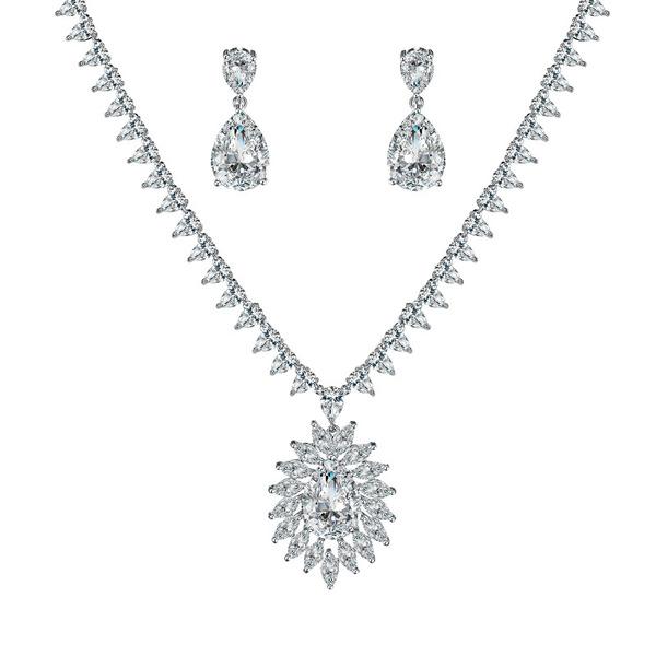 Ladies' Sparking Copper/Cubic Zirconia Cubic Zirconia Jewelry Sets For Bride