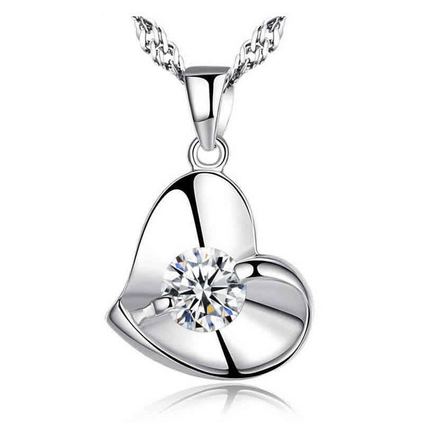 Dames Elegant S925 Silver met Hart Kristal Kettingen Haar/Vrienden/Bruid