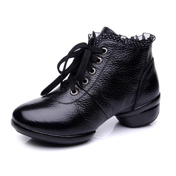 De mujer Piel Botas Entrenamiento con Cordones Zapatos de danza