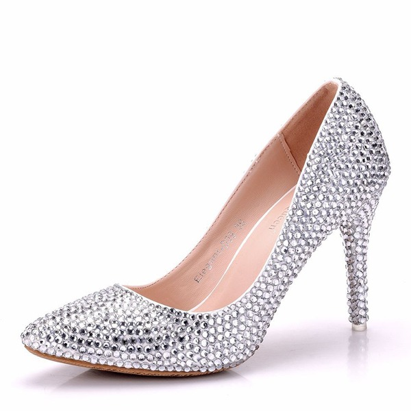Vrouwen Kunstleer Stiletto Heel Closed Toe Pumps met Kristallen Hak Kristal