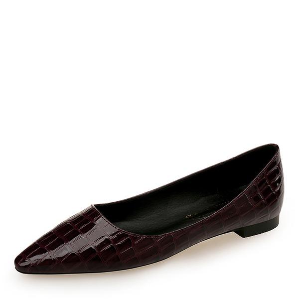 Kvinner PU Flat Hæl Flate sko Lukket Tå sko
