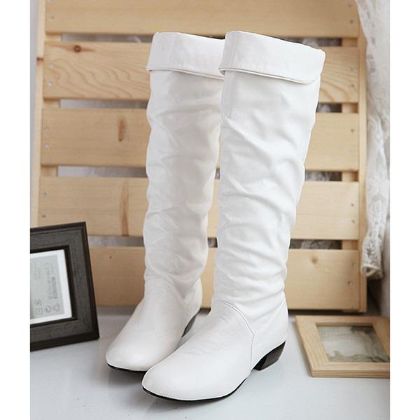 Mulheres Couro Salto baixo Fechados Botas Bota no joelho Bota em cima do joelho com Pregueado sapatos