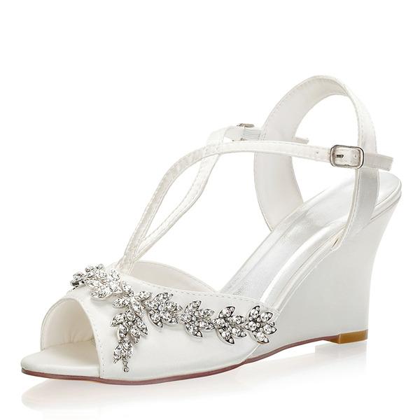 Mulheres como o cetim de seda Plataforma Peep toe Sapatos abertos Calços com Fivela Cristal