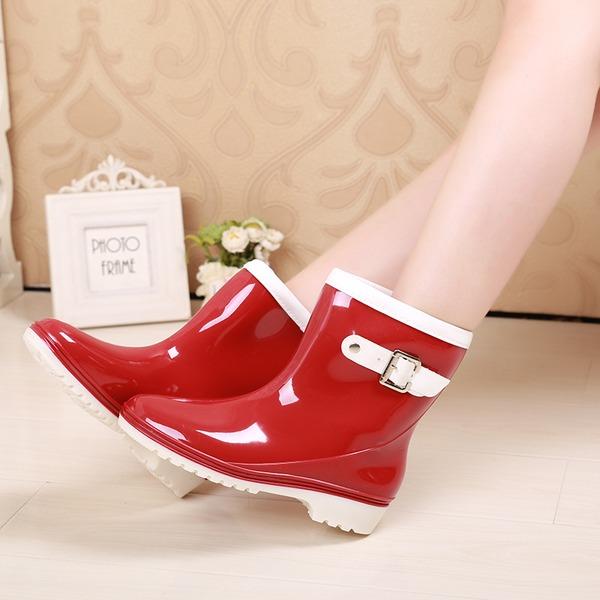 De mujer PVC Tacón bajo Botas Botas longitud media Botas de lluvia con Hebilla zapatos