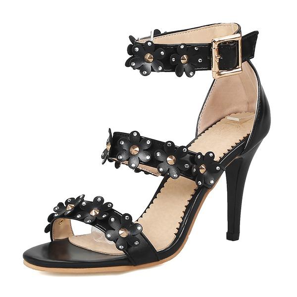 Donna Camoscio Tacco a spillo Sandalo Stiletto con Strass Fiore scarpe