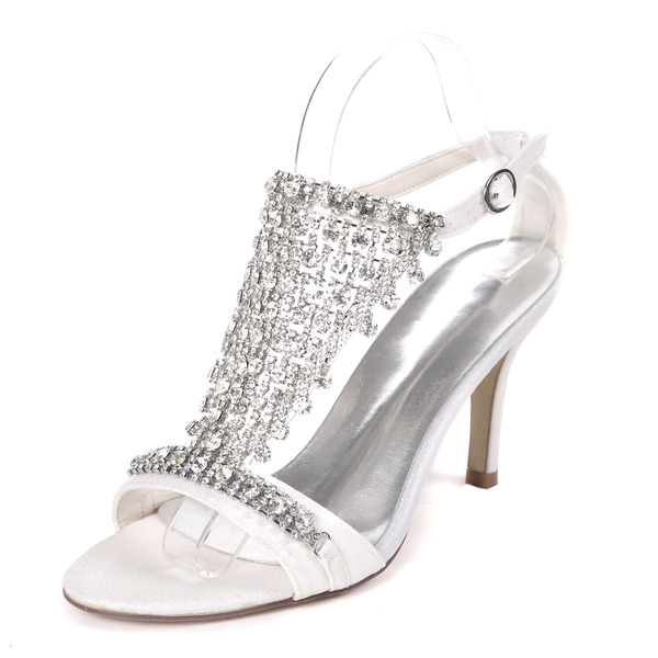 Women's Sparkling Glitter Stiletto Heel Pumps Sandals With Buckle Rhinestone