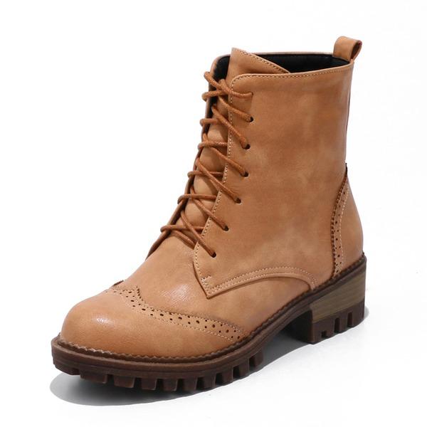 Femmes Similicuir Talon bottier Bottes Bottes mi-mollets Martin bottes avec Dentelle chaussures