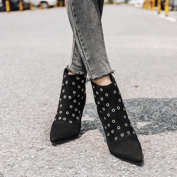 Kvinnor Mocka Stilettklack Stövlar Boots med Nita Zipper skor