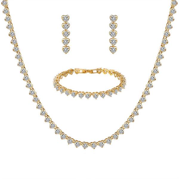 Ladies' Simple Copper/Cubic Zirconia Cubic Zirconia Jewelry Sets For Bride