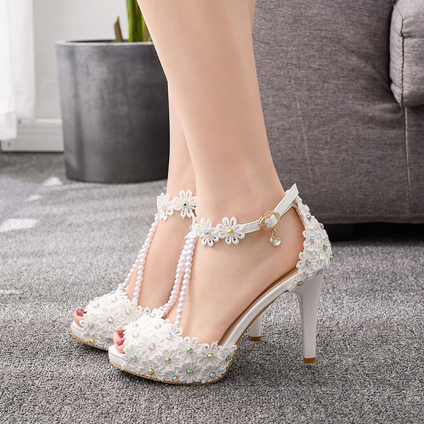 Kids' Leatherette Stiletto Heel Peep Toe Platform Sandals With Imitation Pearl Sequin Hollow-out Flower