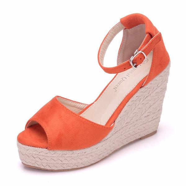 Femmes Similicuir Talon compensé Sandales Compensée avec Boucle chaussures