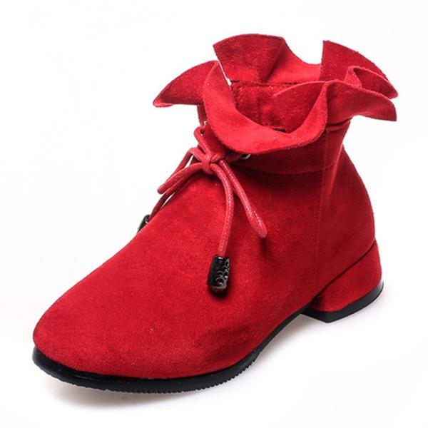 Fille de bout rond Bout fermé Bottines Suède talon plat Chaussures plates Bottes Chaussures de fille de fleur avec Bowknot Zip