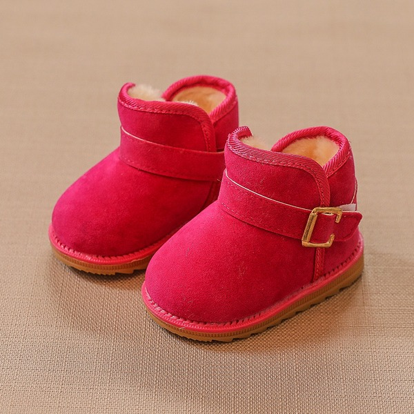 Unisex Closed Toe Snow Boots Suede Flat Heel Flats Boots With Buckle