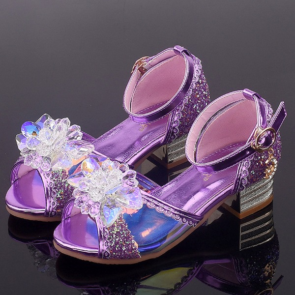 Jentas Titte Tå Leather lav Heel Sandaler Flower Girl Shoes med Spenne Blomst Crystal