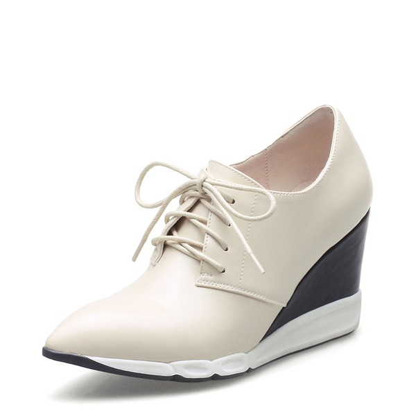 Женщины PU Вид каблука Закрытый мыс Танкетка с Шнуровка обувь