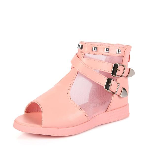 Fille de À bout ouvert similicuir talon plat Sandales Chaussures plates Chaussures de fille de fleur avec Boucle Rivet Zip