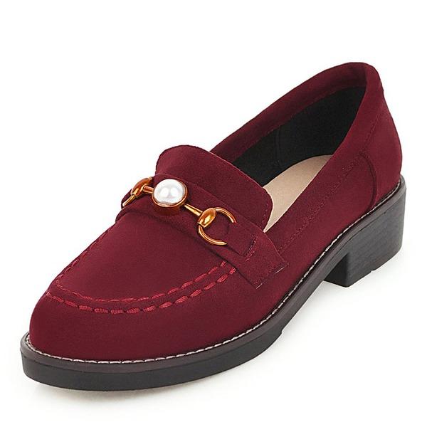 Frauen Veloursleder Flascher Absatz Flache Schuhe mit Nachahmungen von Perlen Schuhe