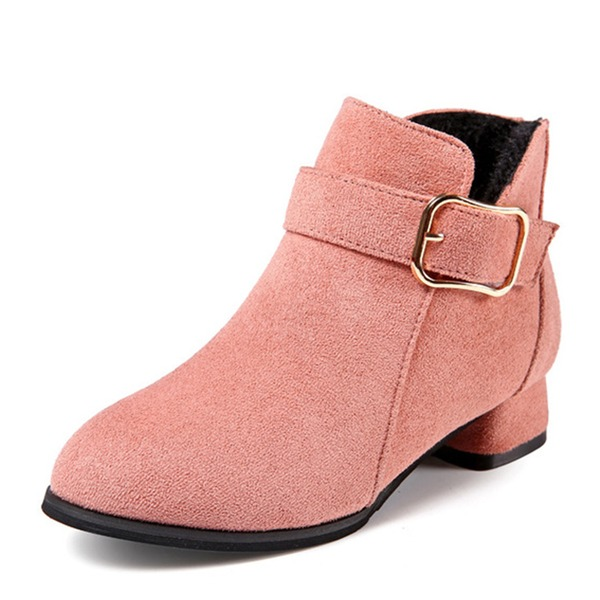 Jentas Round Toe Lukket Tå Ankelstøvler Suede lav Heel Flate sko Støvler Flower Girl Shoes med Spenne