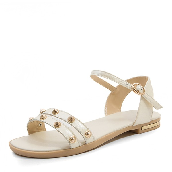 Vrouwen Echt leer Flat Heel Sandalen Flats Peep Toe Slingbacks met Klinknagel Gesp schoenen