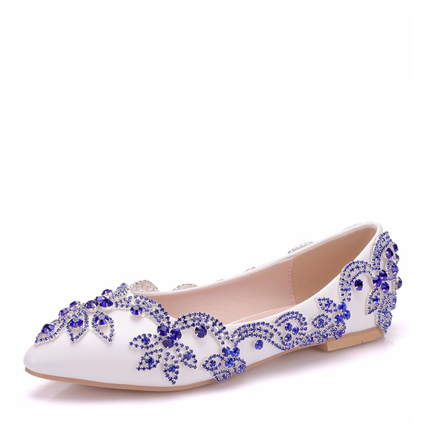 Women's Leatherette Flat Heel Closed Toe Flats With Crystal