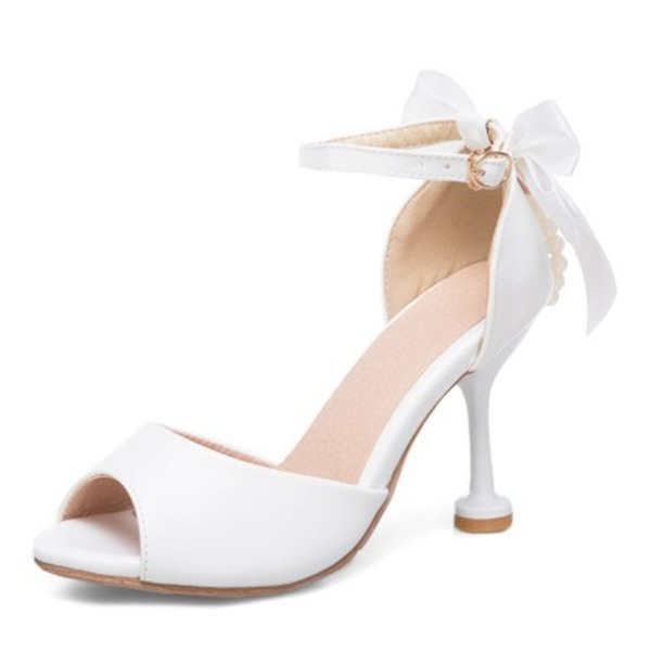 Women's Leatherette Kitten Heel Peep Toe Pumps With Bowknot
