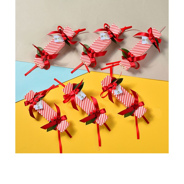 Classic Candy Shaped Card Paper Favor Boxes & Containers With Ribbons (Set of 12)