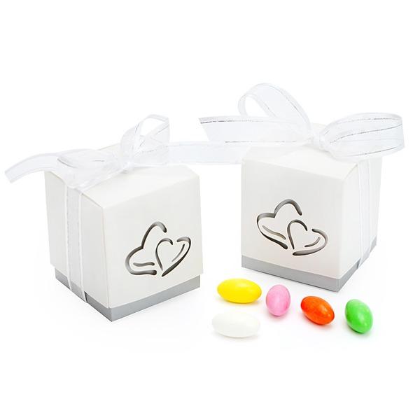 Herz Cut-outs Cubic Geschenkboxen mit Bänder (Satz von 12)