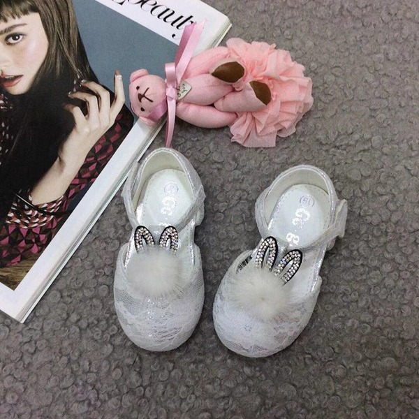 con descuento de hasta Encaje Ballet plano Spitze Talón plano Planos Zapatos de niña de las flores con Velcro pompón