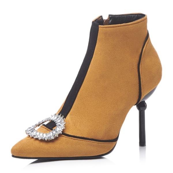 Kvinner Semsket Stiletto Hæl Støvler Ankelstøvler med Crystal sko